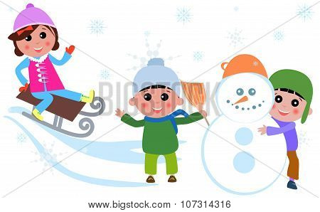 Cute kids playing at Winter