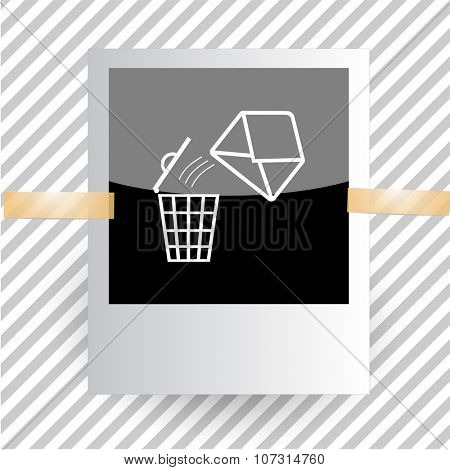 mail with bin. Photoframe. Vector icon.