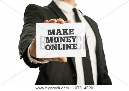 Career Adviser Showing You A White Card Wit Make Money Online Sign