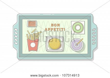 Fast Food Line Illustration. Stock Vector.