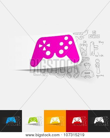 joystick paper sticker with hand drawn elements