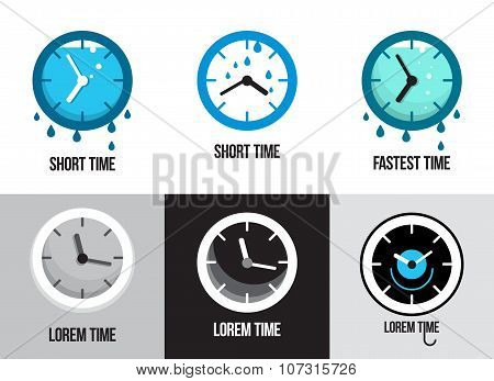 Set of flat time logos and icons.