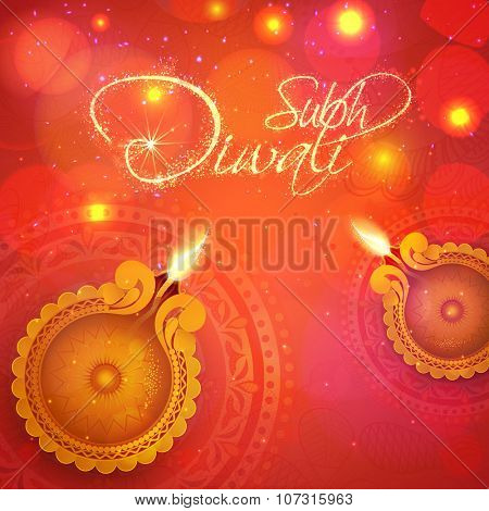 Glossy illuminated oil lit lamps with elegant text Subh Diwali (Happy Diwali) on floral decorated shiny background for Indian Festival of Lights celebration.