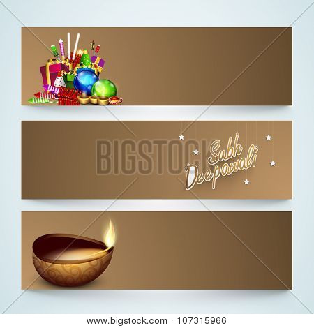 Glossy website header or banner set with colourful firecrackers and illuminated oil lit lamp for Indian Festival of Lights, Happy Diwali celebration.