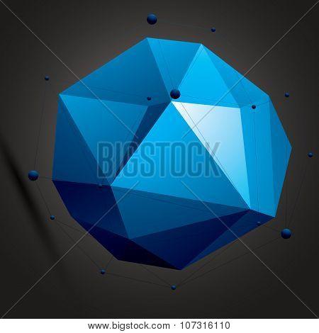 Complicated Abstract blue 3D Shape, Vector Digital Lattice Object. Technology Theme.