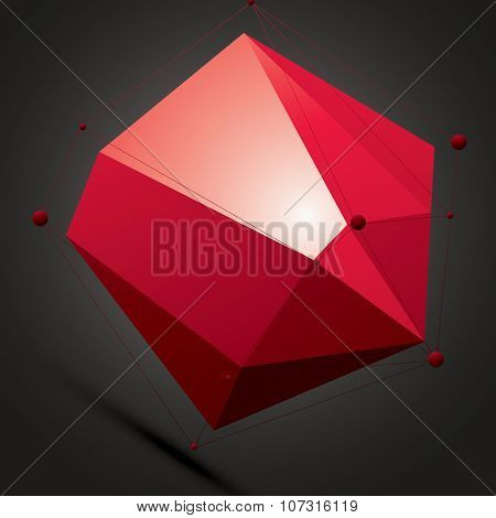 Vector Complicated 3D Figure Over Dark Background, Modern Digital Technology Style Form. Abstract La