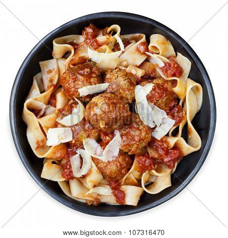 Chicken meatballs with pappardelle ribbon pasta and parmesan.  Overhead view, isolated.