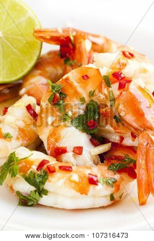 Tiger prawns with lime, coriander and red chili.