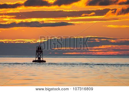 Floating Lighthouse On St.lawrence River