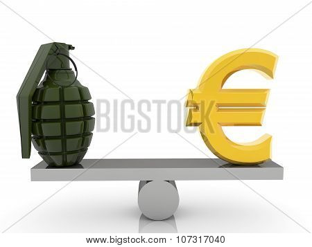 Euro sign and grenade on seesaw