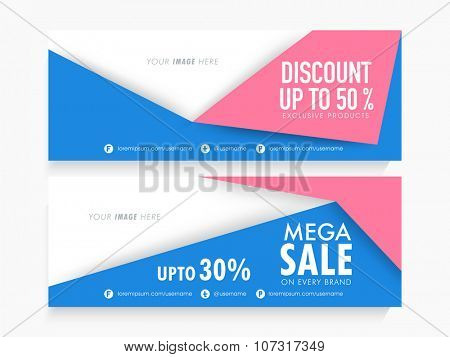 Stylish Mega Sale website header or banner set with different discount offer on exclusive products.