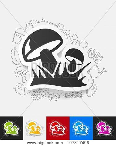 mushrooms paper sticker with hand drawn elements