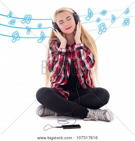 Young Happy Blondie Woman Listening Music In Earphones Over White