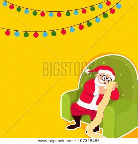 Cute Santa Claus sitting on green sofa and reading a long wish list on colorful lights decorated yellow background for Merry Christmas celebration.