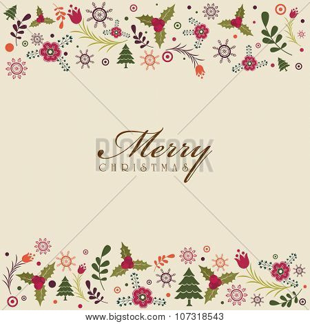 Elegant greeting card design decorated with various ornaments for Merry Christmas celebration.