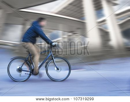 Cyclist With Elevated Roads
