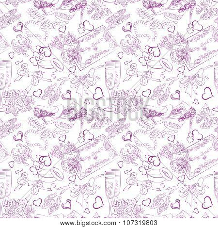 Seamless Texture Wedding Accessories Outline