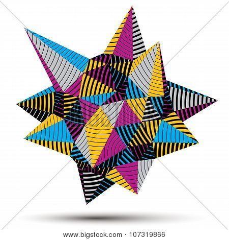 3D Modern Stylish Abstract Stripy Construction, Origami Facet Vector Object