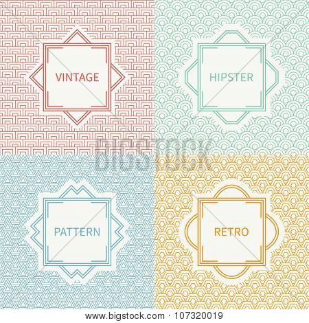 Set of mono line polygon hipster seamless pattern. Vintage frames in red, green, blue, gold. Wrappin