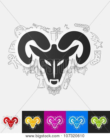 head of the ram paper sticker with hand drawn elements