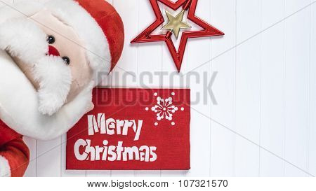 Cristmas background. Red decoration. Santa Claus Merry Cristmas greeting card