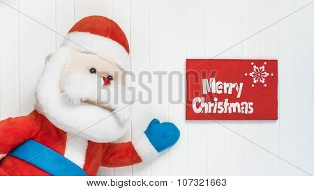 Cristmas background. Red decoration. Merry Cristmas greeting card
