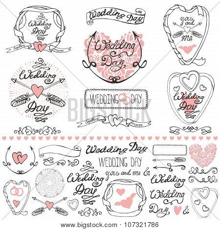 Wedding decor elements set.Labels,cards,invitations.Outline