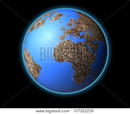 Dry Earth Isolated On Black Back Ground