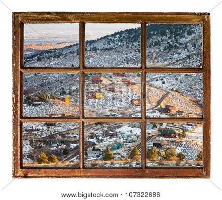 mountain homes in northern Colorado near Fort Collins - a view through a vintage sash window