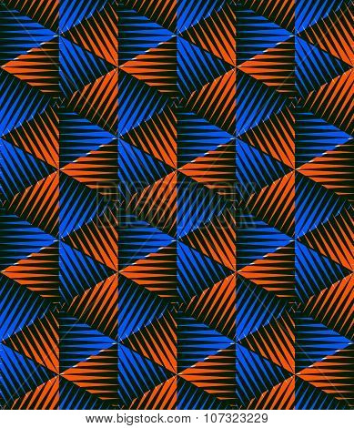 Colored Abstract Interweave Geometric Seamless Pattern. Bright Illusory Backdrop With Three-d