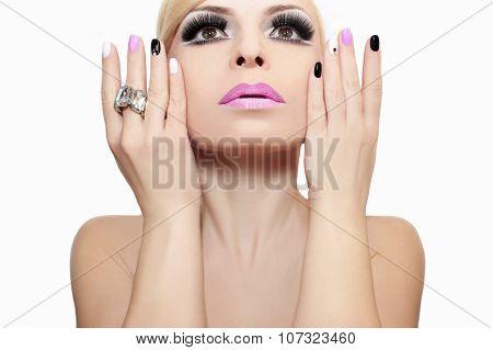 Fashion makeup and manicure.