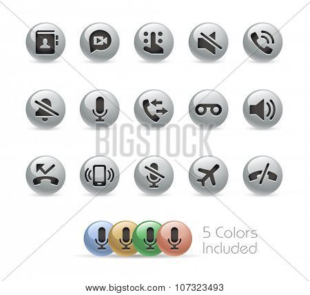Web and Mobile Icons 1 // Metal Round Series -- The vector file includes 5 color versions for each icon in different layers.
