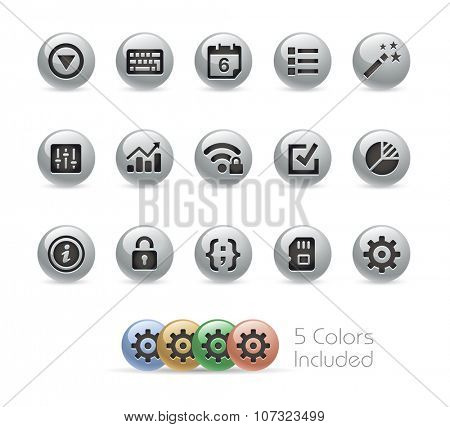 Web and Mobile Icons 4 // Metal Round Series -- The vector file includes 5 color versions for each icon in different layers.