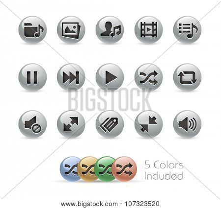 Web and Mobile Icons 7 // Metal Round Series -- The vector file includes 5 color versions for each icon in different layers.