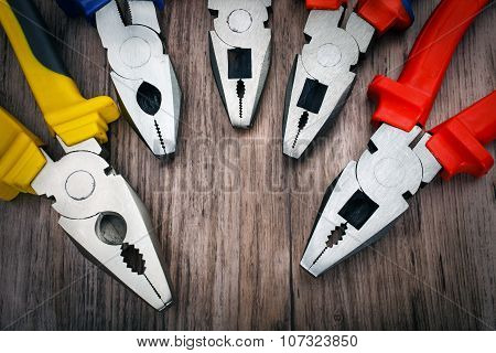 copyspace image set of handtools  pliers