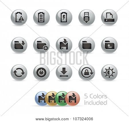 Web and Mobile Icons 3 // Metal Round Series -- The vector file includes 5 color versions for each icon in different layers.
