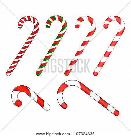 Candy Cane Striped In Christmas Colours. Vector Illustration Isolated On A White Background.