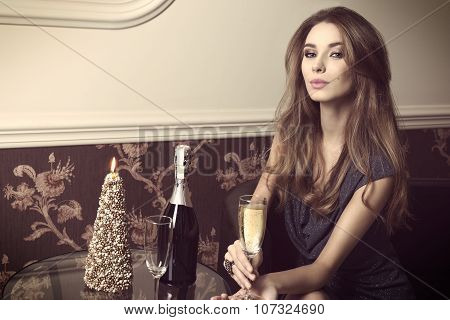 Elegant Girl With Champagne