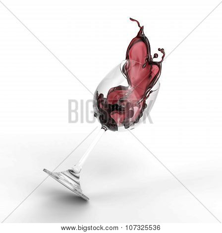 Wine Spilled Out Of Glass Isolated On White