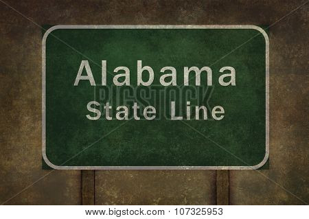 Alabama State Line Roadside Sign Illustration, With Distressed Ominous Background