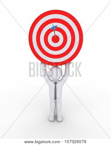 Businessman And Target With Arrow