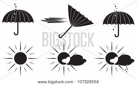 Black And White Weather Symbols Umbrella And The Sun.