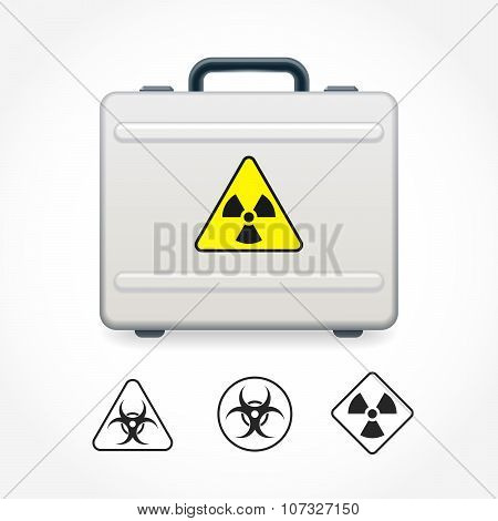Metal Case With A Sign On Radiation Danger