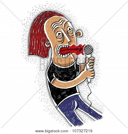 Colorful Drawing Of A Pop Singer Holding A Microphone. Musician Concept. Hand-drawn Performer