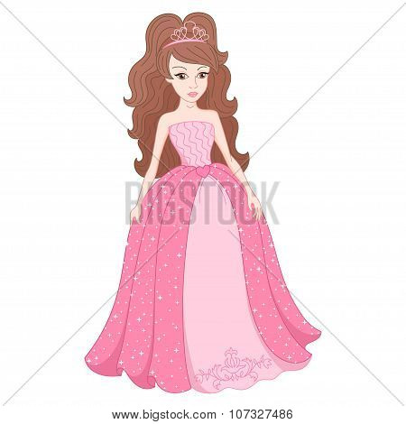 Magnificent princess in gentle pink dress with spangles