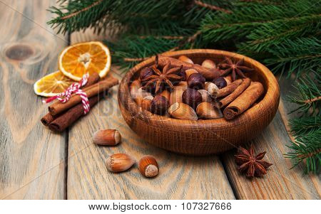 Nuts And Spices For Christmas Cake