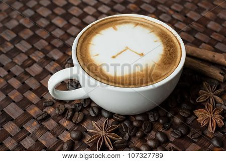 Coffee Time , Clock Drawing On Latte Art Coffee Cup