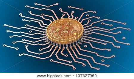 Bitcoin Circuit Over Blue Background