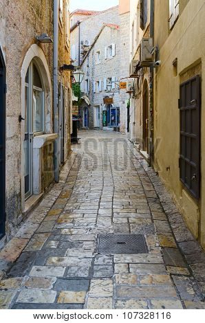 Street Of Old Town In The Early Morning, Budva, Montenegro
