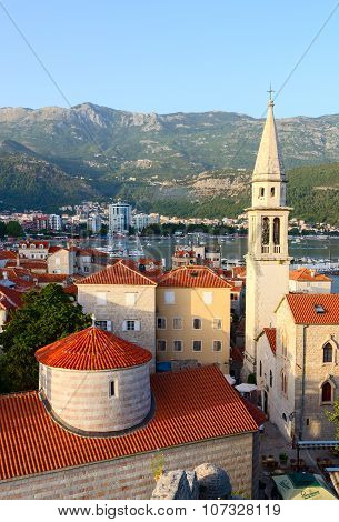 Top View Of Old Town And Cathedral Of St. John Baptist, Budva